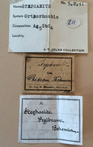 Labels for the Pribram stephanite.  Only the last label is recognizable to me - Rukin Jelks (who was a very highly regarded southern Arizona collector).